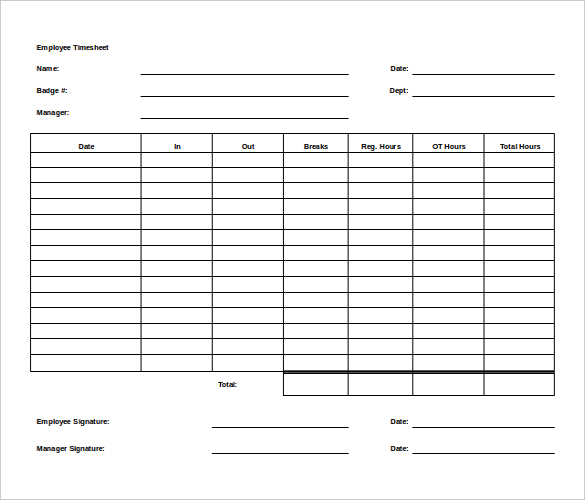 High Quality Weekly Employee Time Sheet Template Free Sample : vlashed