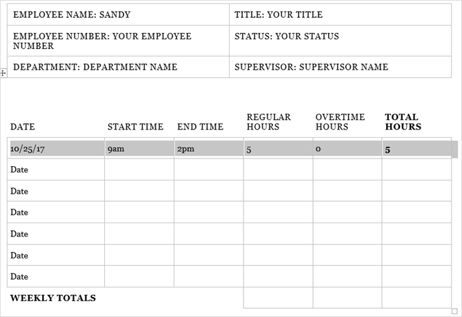 Timesheet template word msofficeword necessary although track