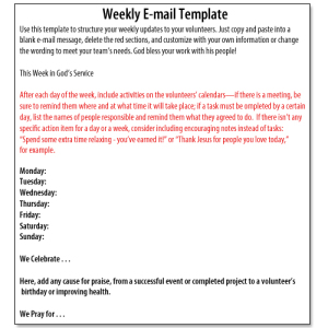Volunteer Management Weekly Update Template