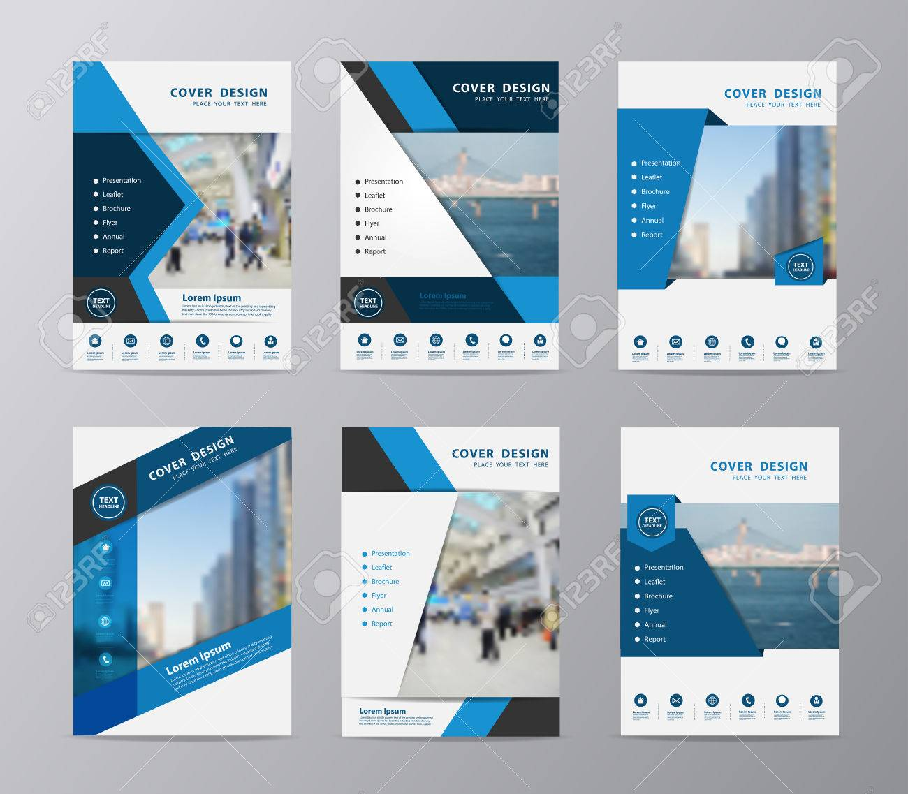Blue Annual Report Brochure Design Template , Set Of Leaflet