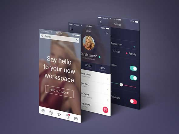 Free Mobile App Screens Presentation Mockup PSD   Good Mockups