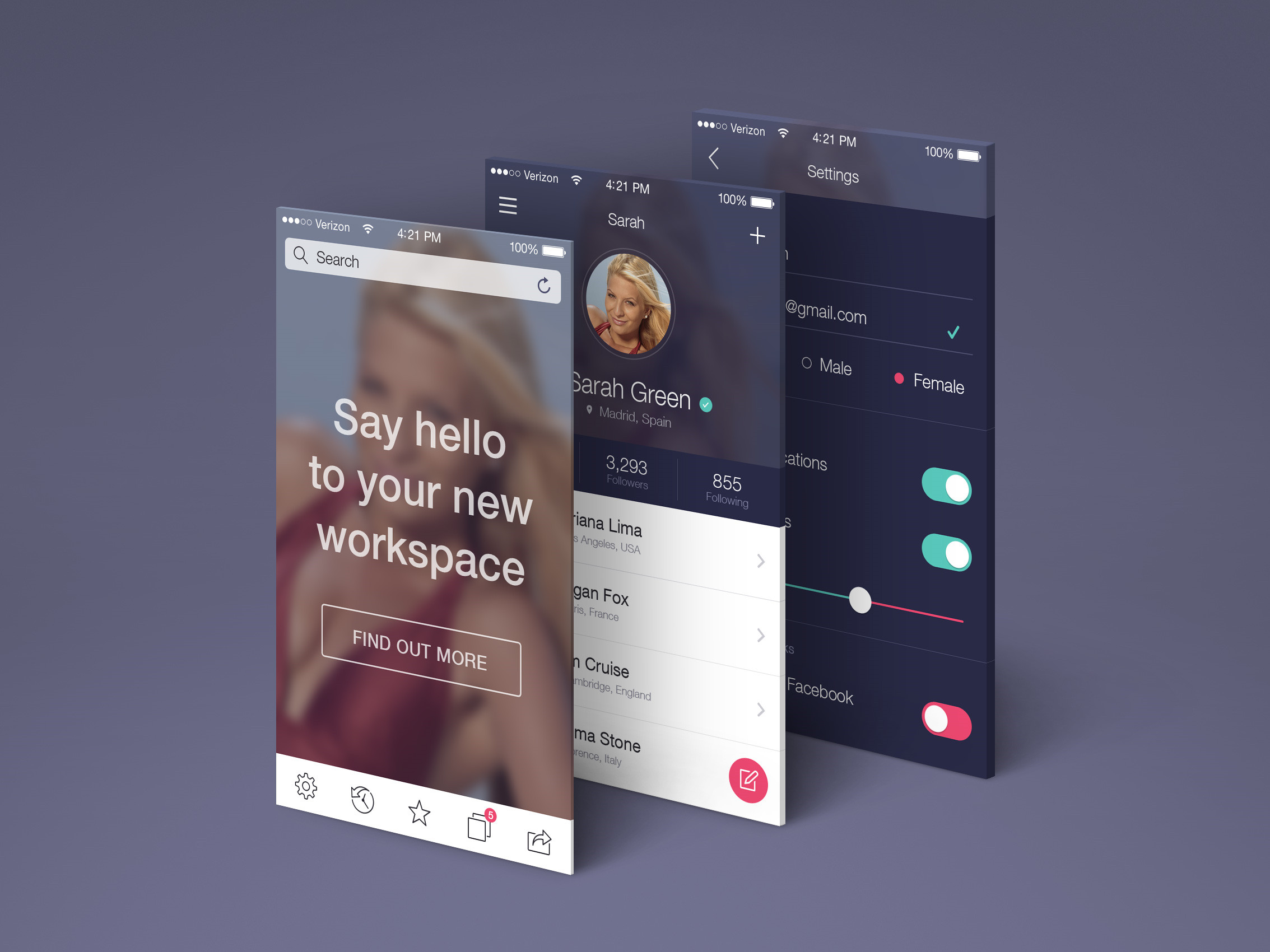 Perspective App Screens Mockup | Free Download