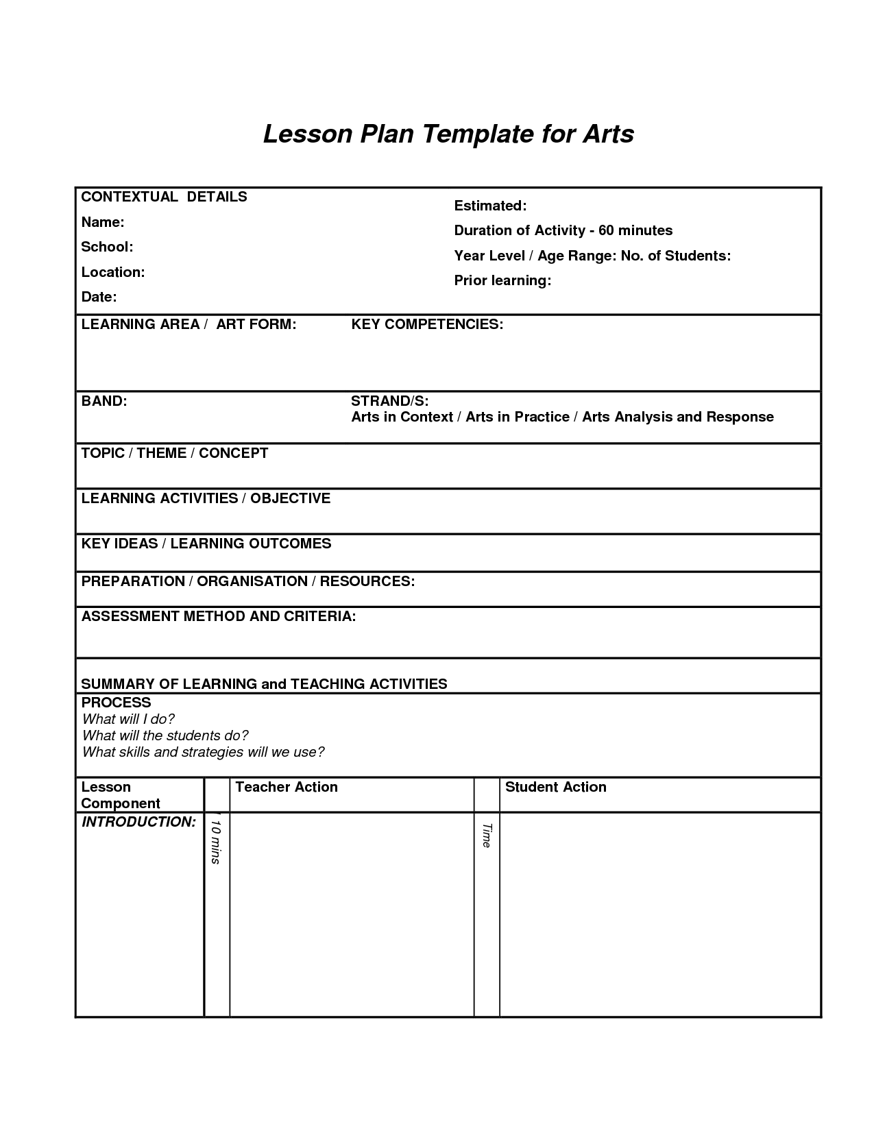 Art Lesson Plan Template   3 Free Word, PDF Documents Download