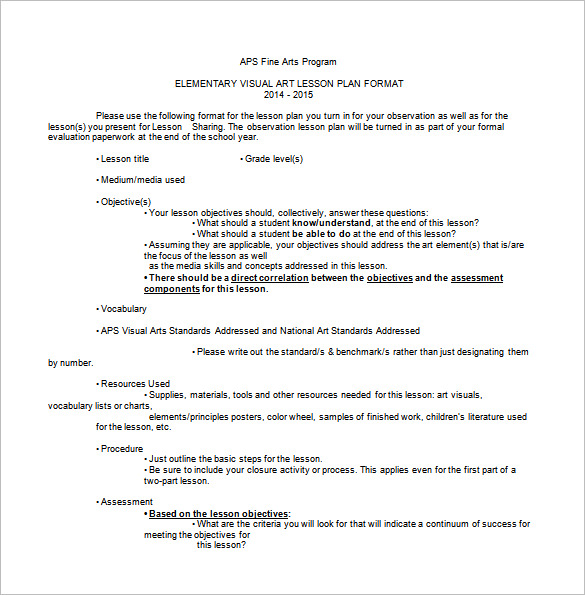 24 Images of Simple Art Lesson Plan Template   dotcomstand.com