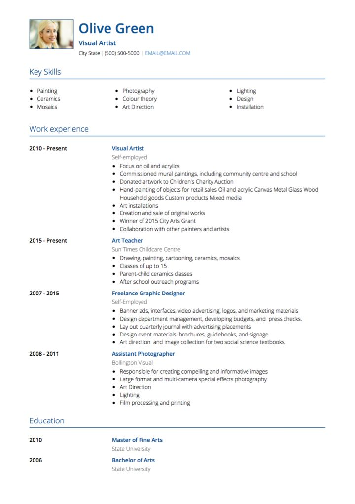 Art Resume Template Direct Luxury Creative Arts Cv Template