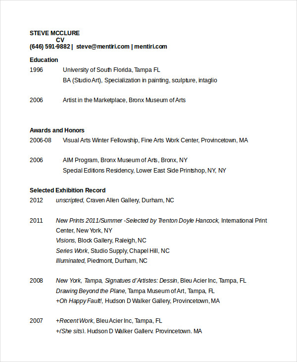 Artist Resume Templates Samples Visualcv   shalomhouse.us