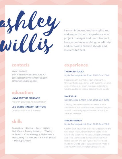 Pink Blue Script Creative Makeup Artist Resume   Templates by Canva