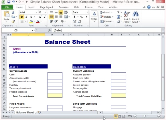 balance sheet sample excel   Joli.vibramusic.co