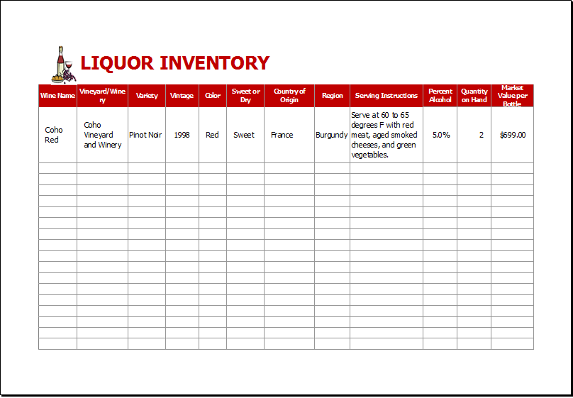 bar inventory list spreadsheet | Papillon northwan