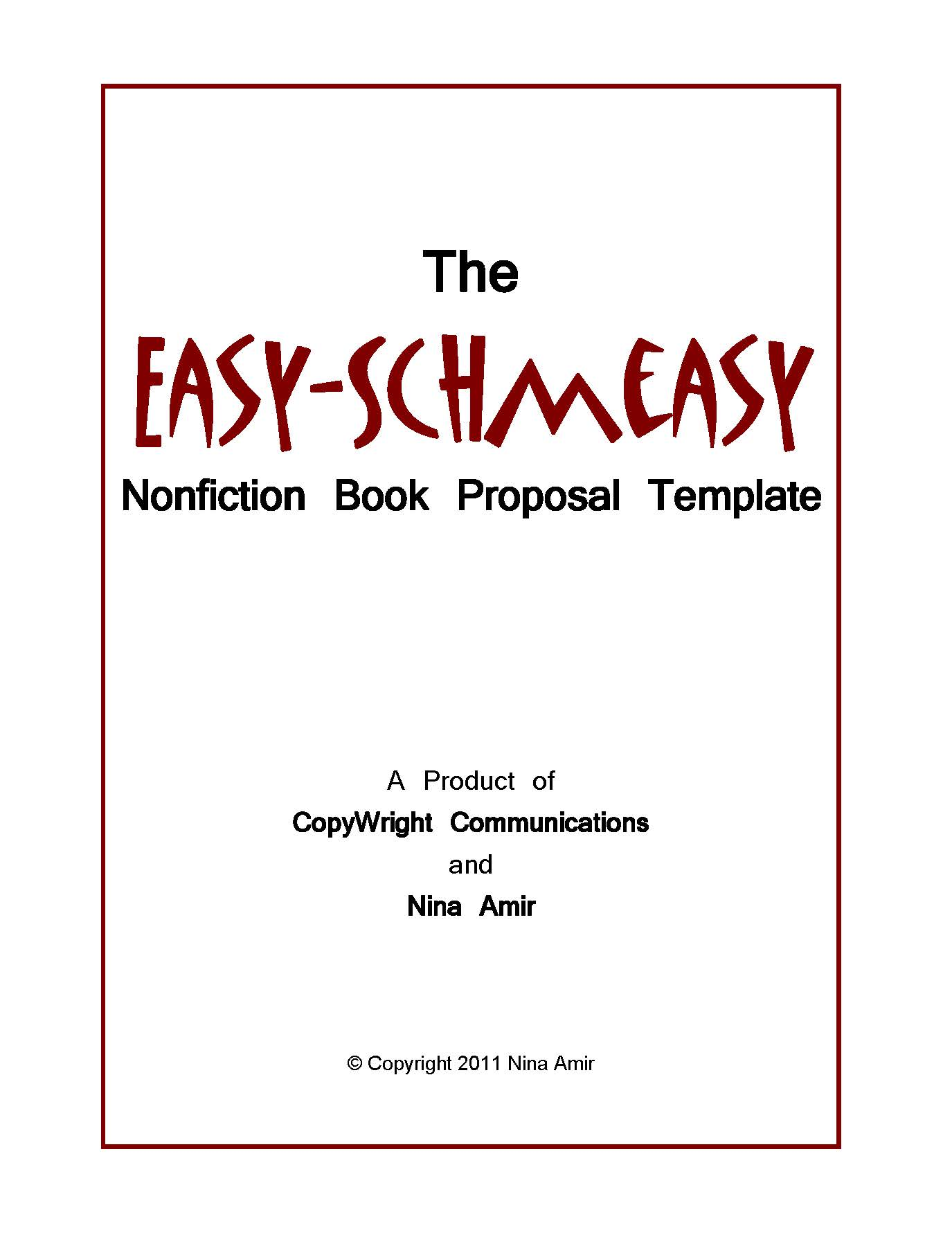 Easy Schmeasy Book Proposal Template   Write Nonfiction NOW!