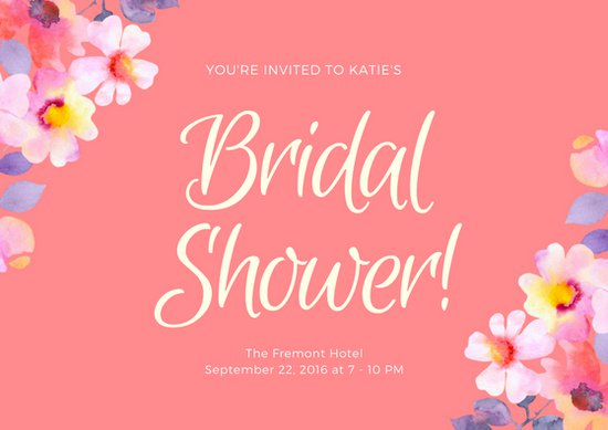 Pink Floral Bridal Shower Card   Templates by Canva