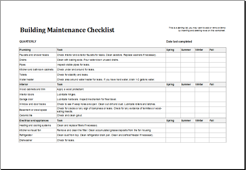 Building Maintenance Checklist Templates | Microsoft Word & Excel