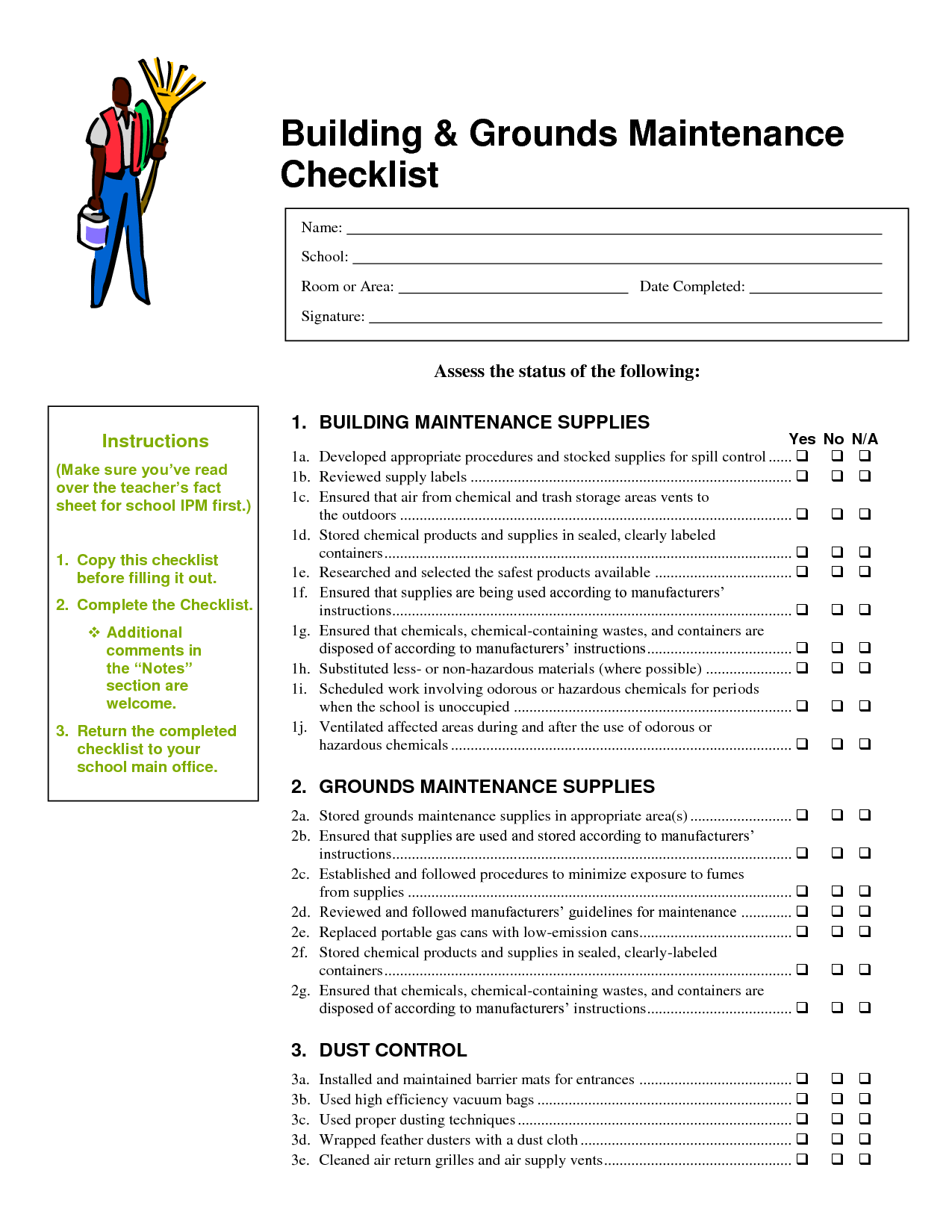 building maintenance checklists