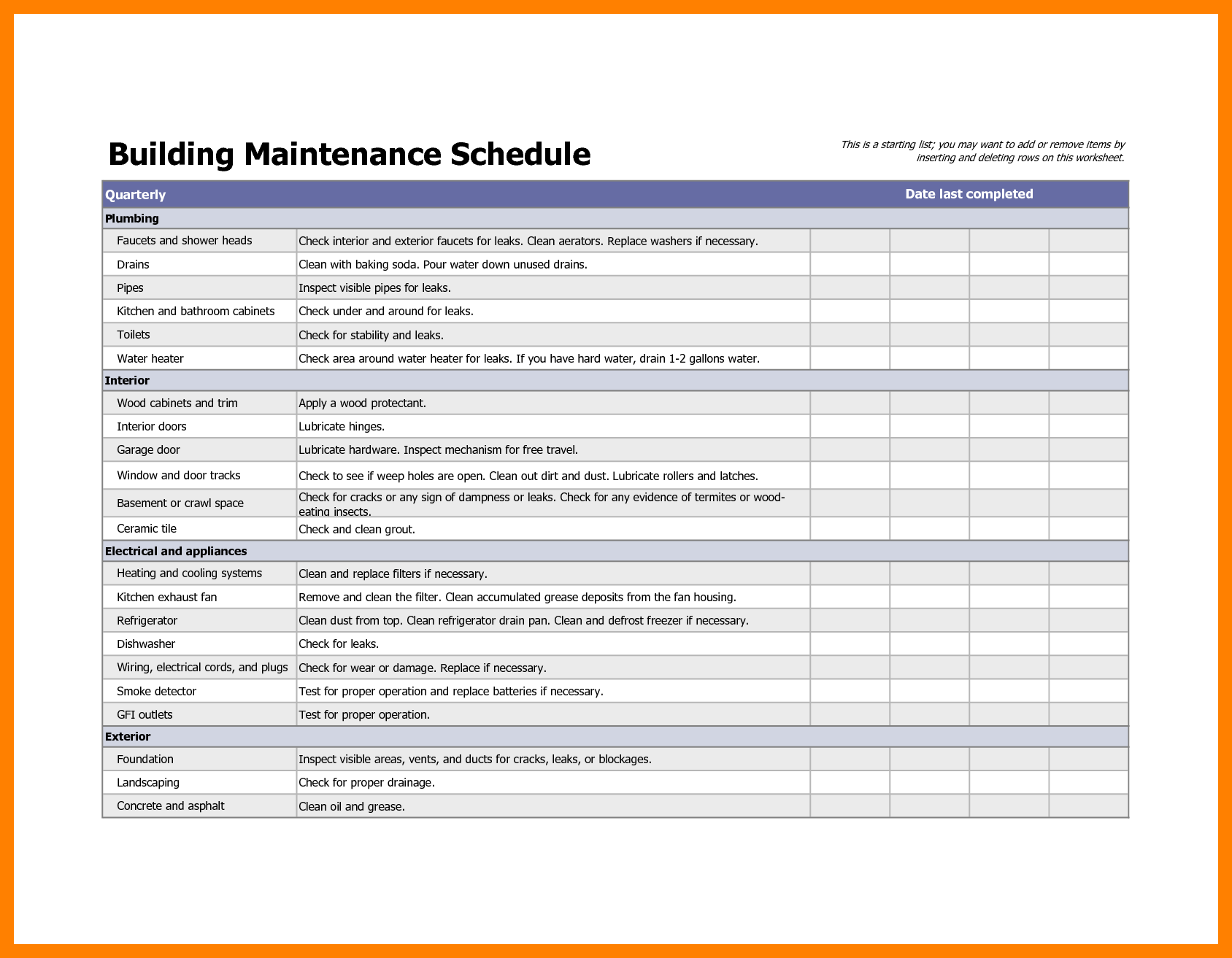 Building maintenance checklist template infinite concept so