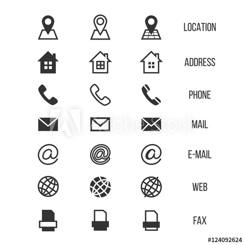 Business card vector icons, home, phone, address, telephone, fax