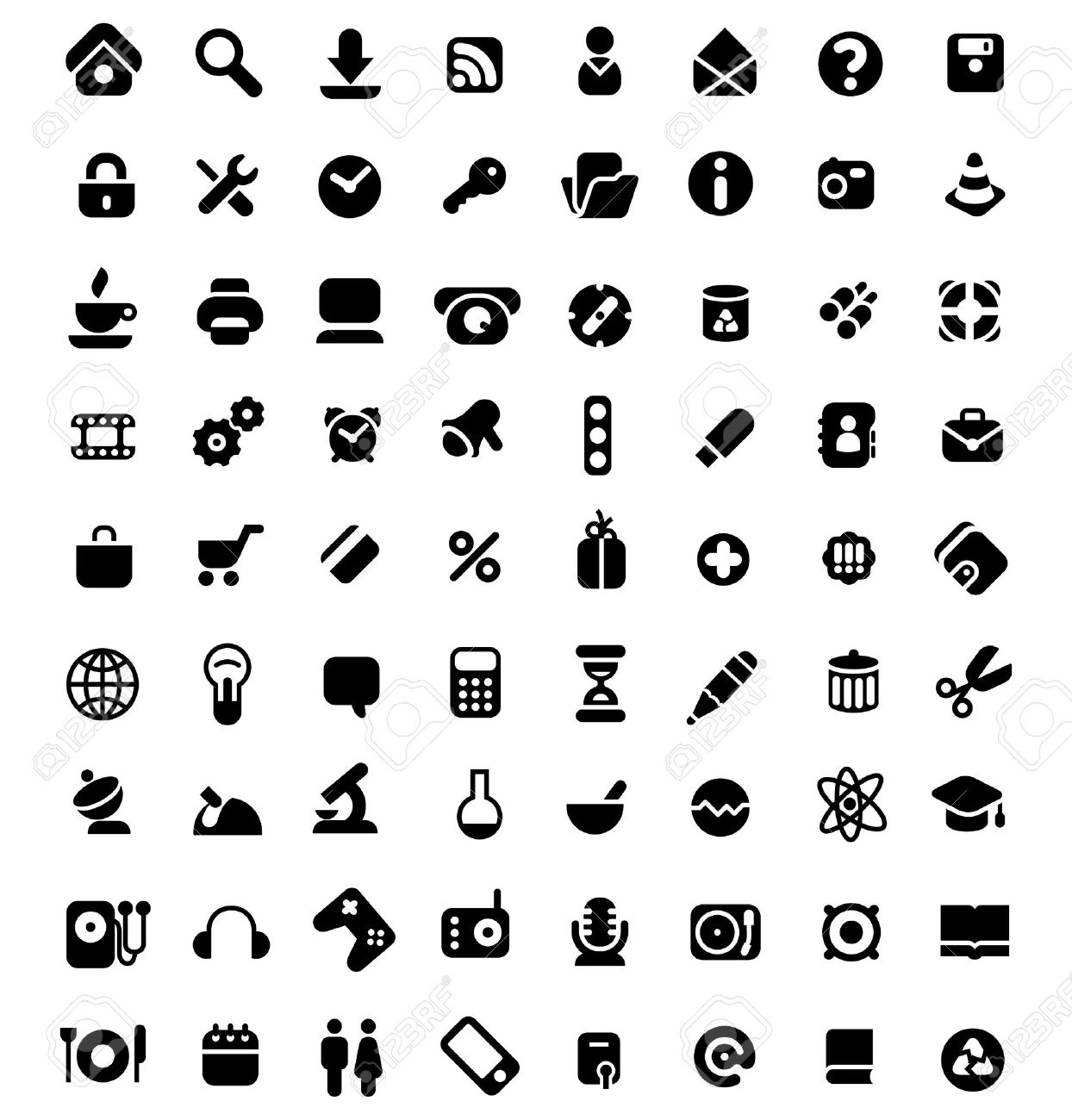 Set Of 72 Icons For Website, Computer, Business, Shopping, Science