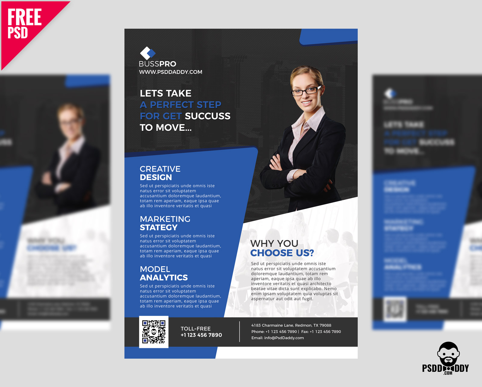 Business Flyer Template Free PSD – UXFree.COM