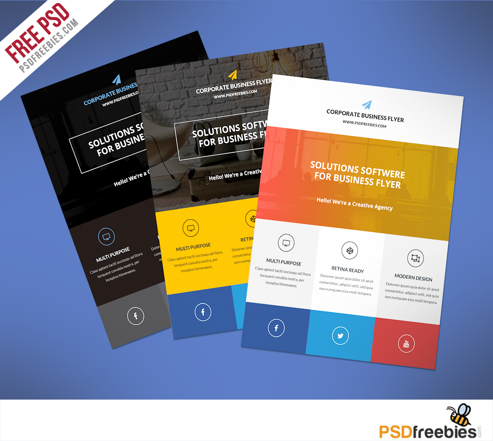 Flat Clean Corporate Business Flyer Free PSD | PSDFreebies.com