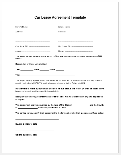 Loan Agreement Template | Microsoft Word Templates   car payment