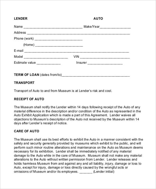 vehicle finance agreement template 9 loan contract templates free