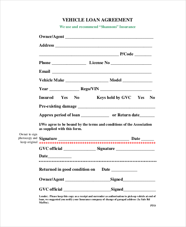 car loan agreement template pdf auto loan agreement template auto