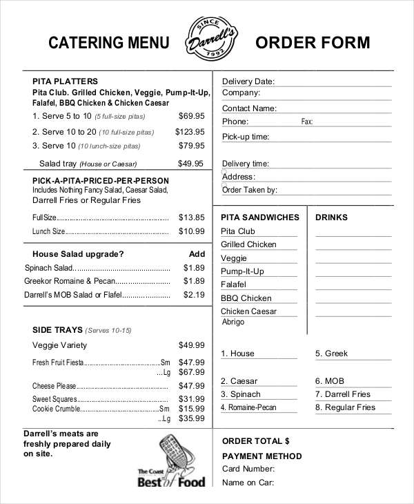 14+ Catering Order Forms   Free Samples, Examples, Format Download