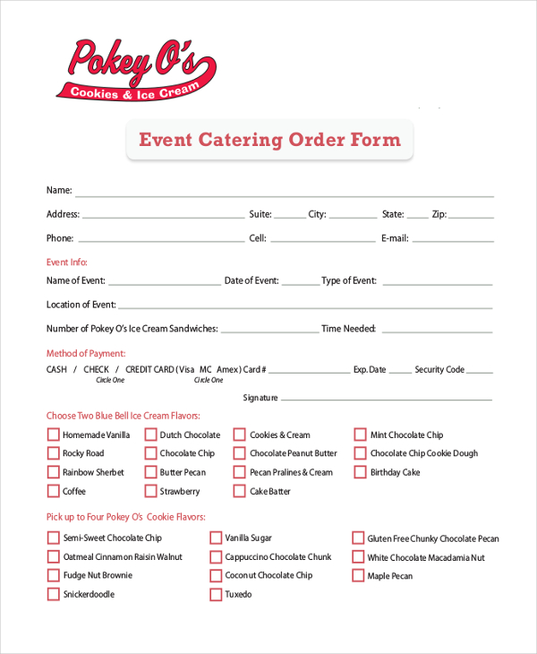 Catering Order Form. Banquet Event Order Form Template Newest