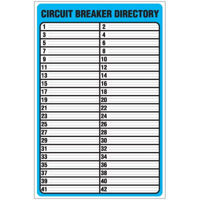 Circuit Breaker Directory Template. | Checklist | Pinterest