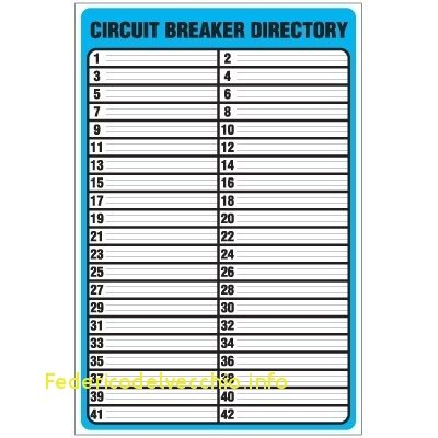 Breaker Box Directory Template   Fill Online, Printable, Fillable