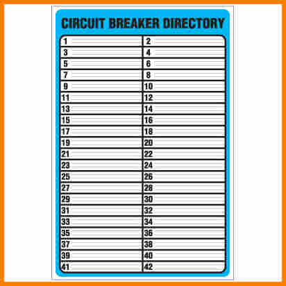 Circuit Breaker Directory Template | beneficialholdings.info