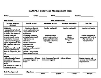 2011 2012 Classroom Management Plan