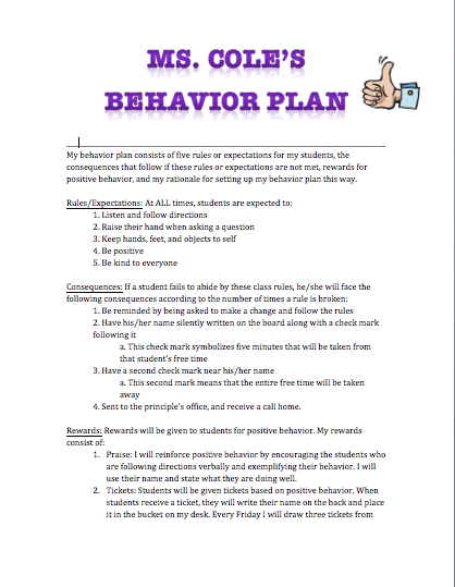 Behavior Management Plan. The Behavior Management Strategy That