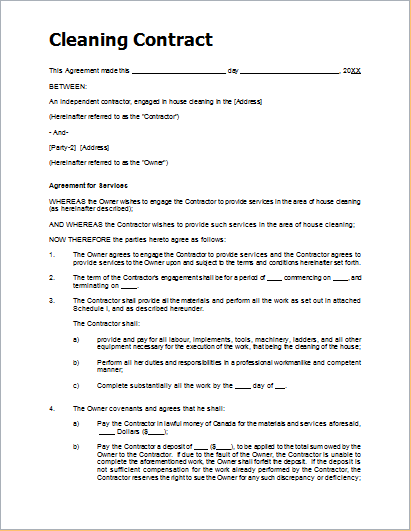 cleaning agreement template sample cleaning contract template for