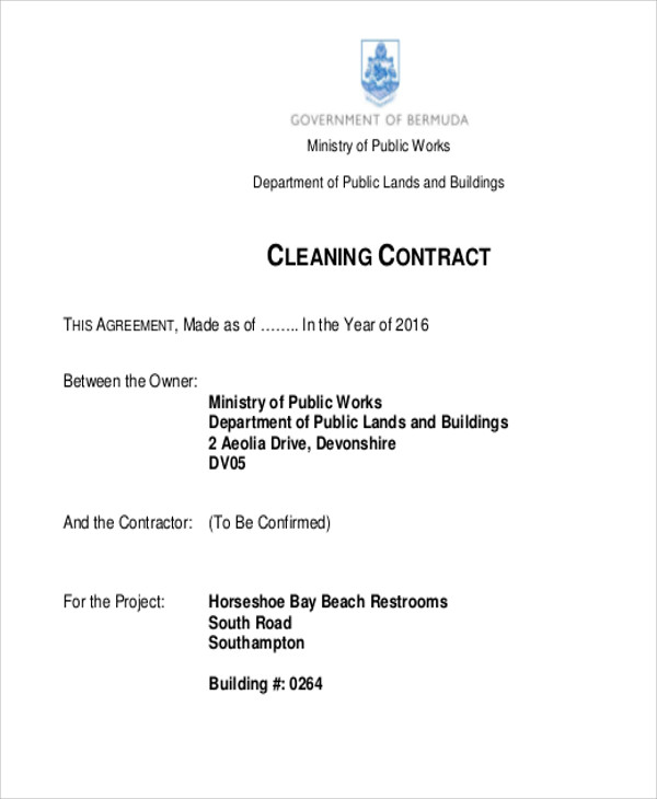 7+ Cleaning Contract Templates   Free Samples, Examples Format