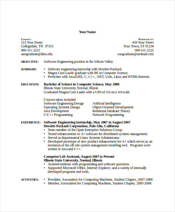 computer science resume examples   Mini.mfagency.co