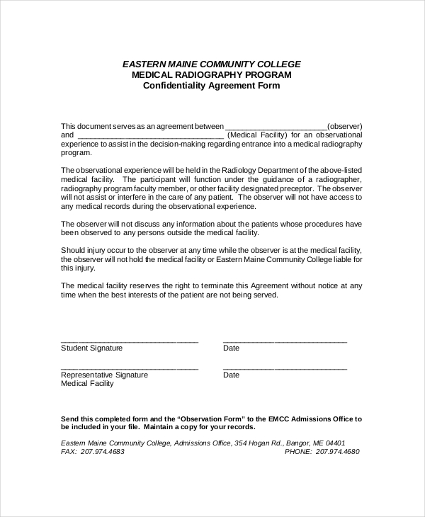 confidentiality agreement form template confidentiality agreement