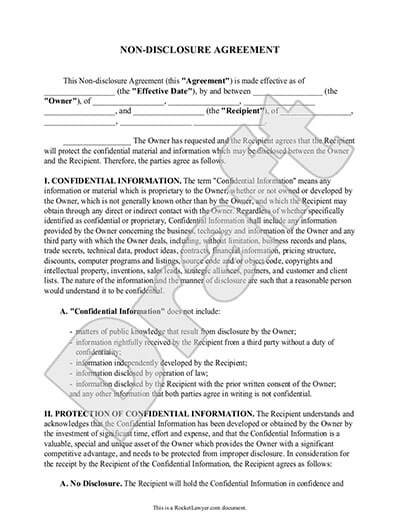 free non disclosure agreement template non disclosure agreement
