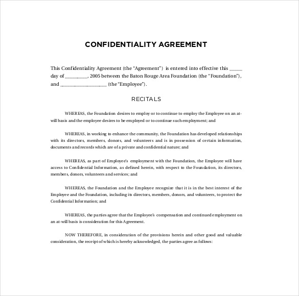 generic confidentiality agreement template generic confidentiality