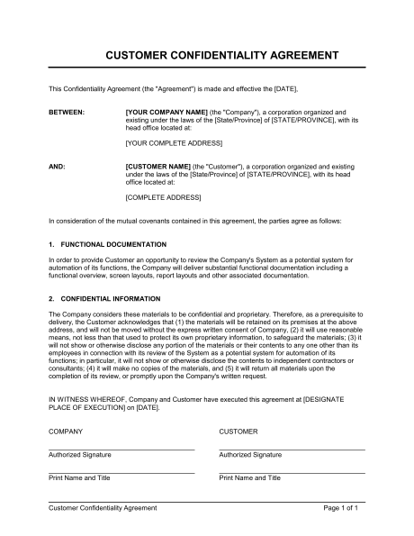 privacy agreement template confidentiality agreement template