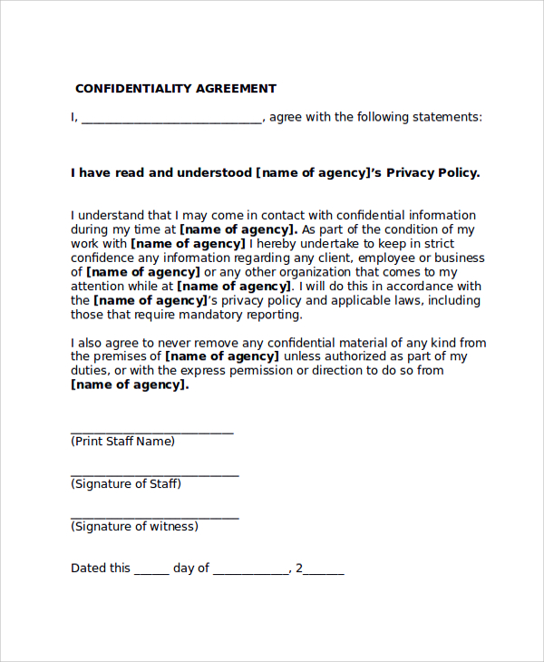social work confidentiality agreement template confidentiality