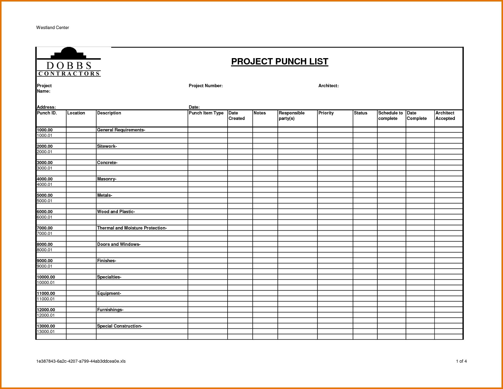 Construction Punch List Template Emmamcintyrephotography Com
