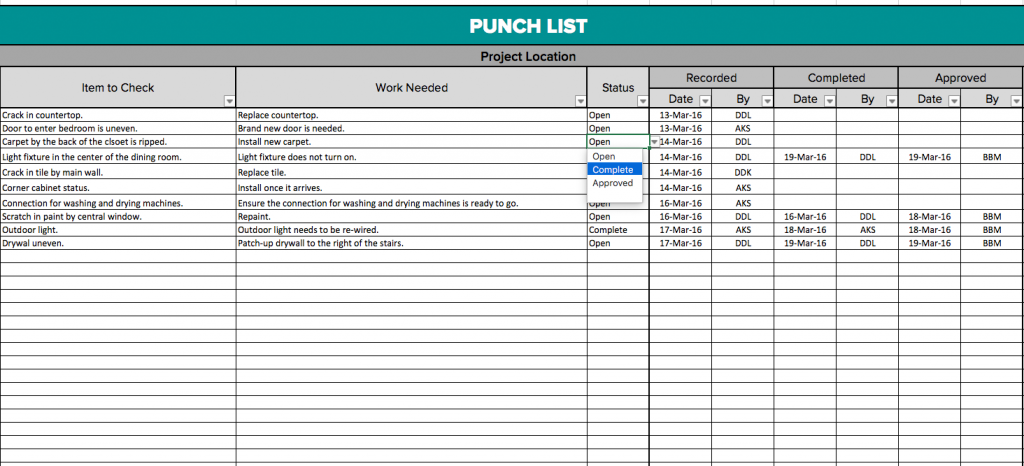 Construction Punch List Template Emmamcintyrephotography