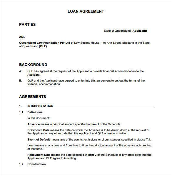 agreement between 2 parties template loan agreement contract