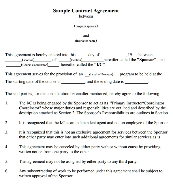 agreement template between two companies contract agreement