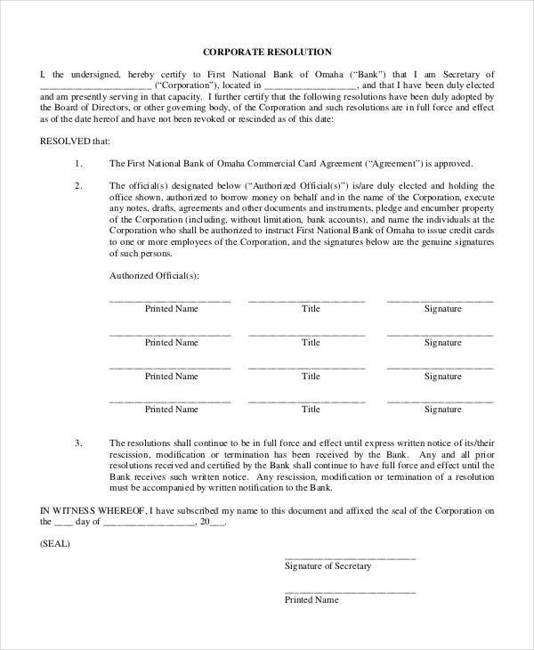 Corporate Resolution Form   7+ Free Word, PDF Documents Download