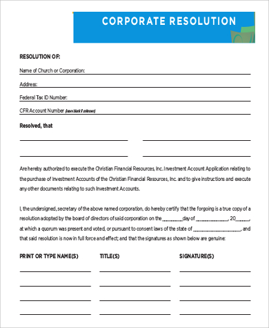 Corporate Resolution Authorized Signers Template Planing Corporate