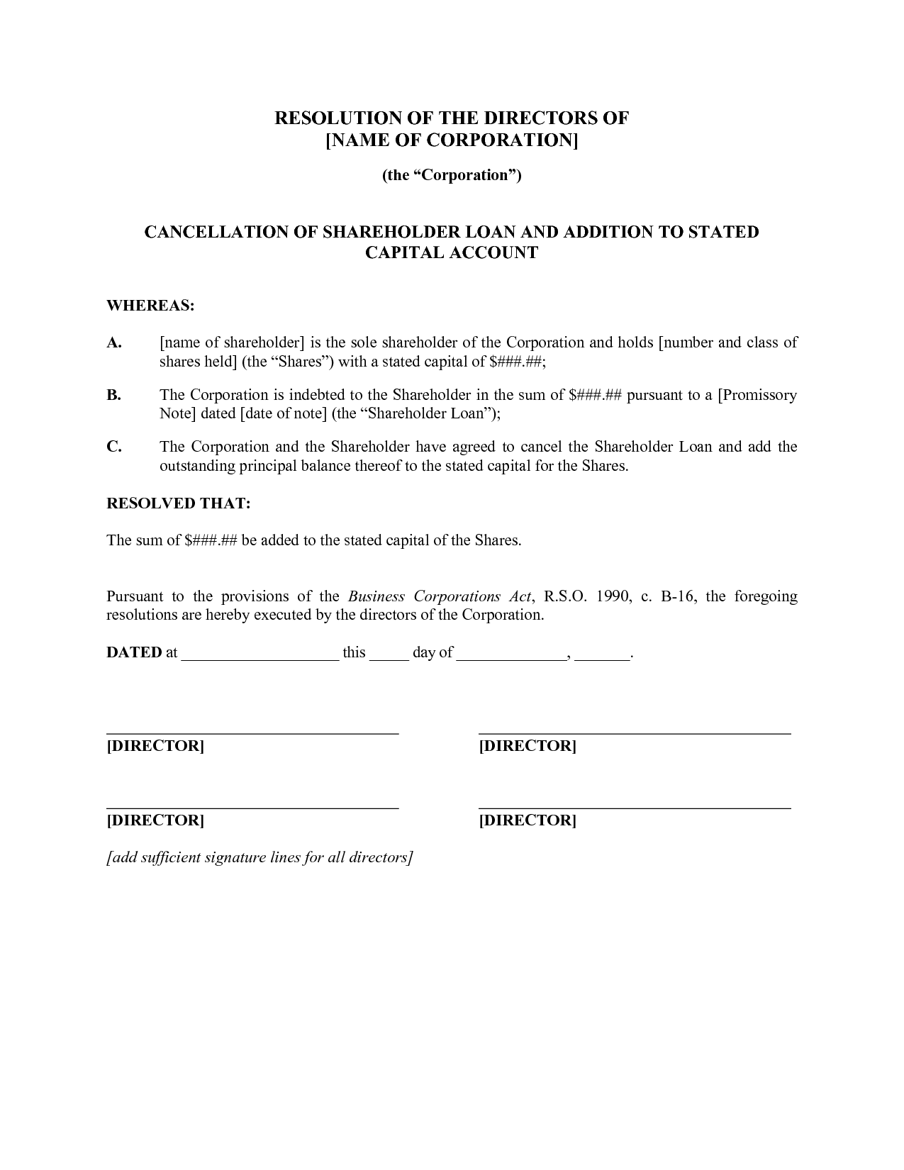 9+ Sample Corporate Resolution Forms | Sample Templates