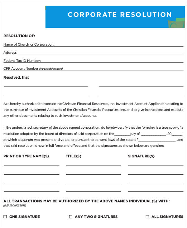 Certificate of Corporate Resolution   Template & Sample Form