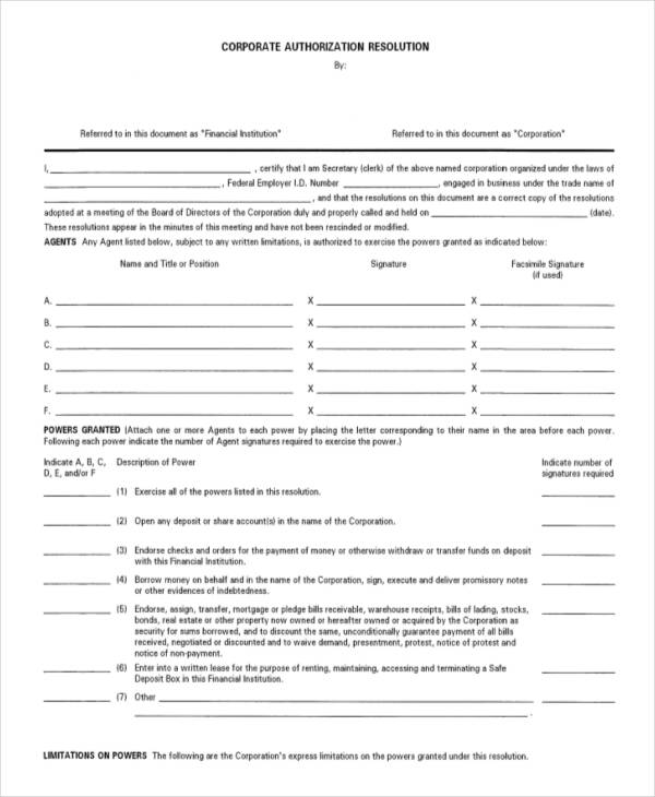 Corporate Resolution Document   Fill Online, Printable, Fillable