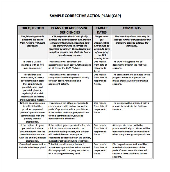 5+ employee corrective action plan template | mail clerked